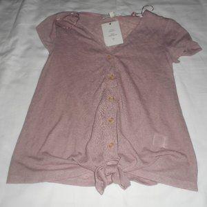 Pink Rose Mauve Button Shirt NWT
